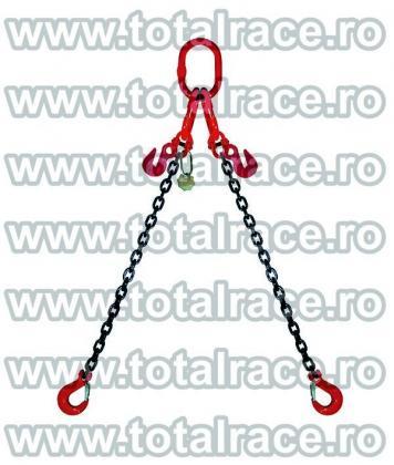 Sistem de ridicare din lant cu 2 brate cu carlige cu ochi si siguranta